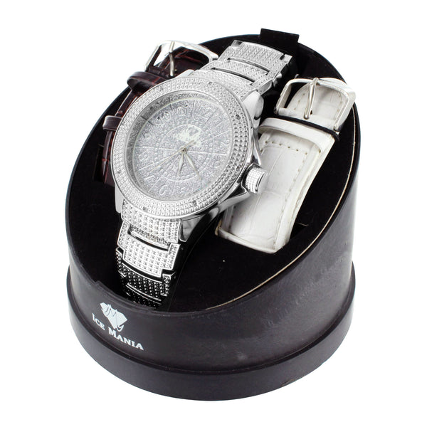 Crisp White Finish Stainless Steel Back Mens Diamond Ice Mania Watch