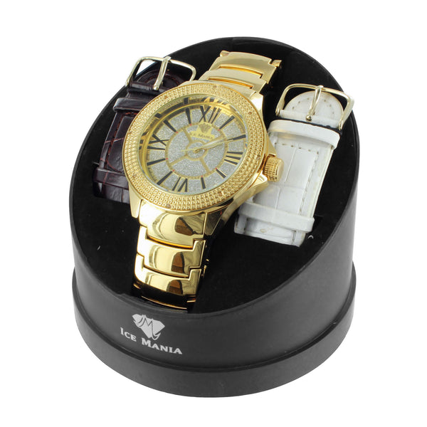 Analog Quartz Movement Mens Diamond Ice Mania Celeb Watch