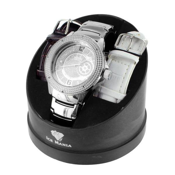 Icy White Finish Ice Mania Mens Diamond Watch