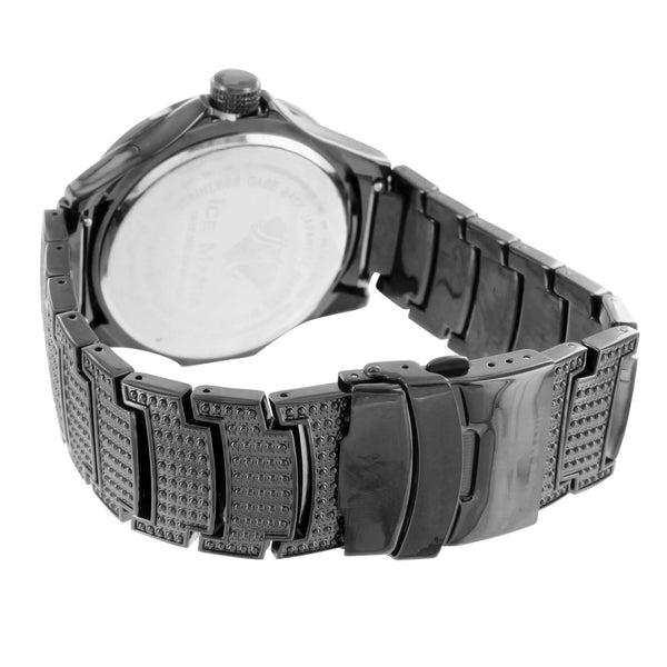 Copy of Mens Stylish Analog Stainless Steel Back Ice Mania Diamond Black Watch