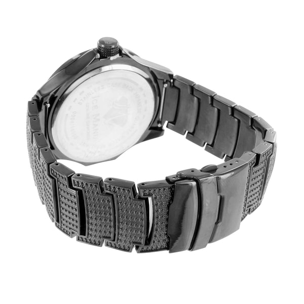 Elegant Ice Mania Mens Diamond Black New Watch