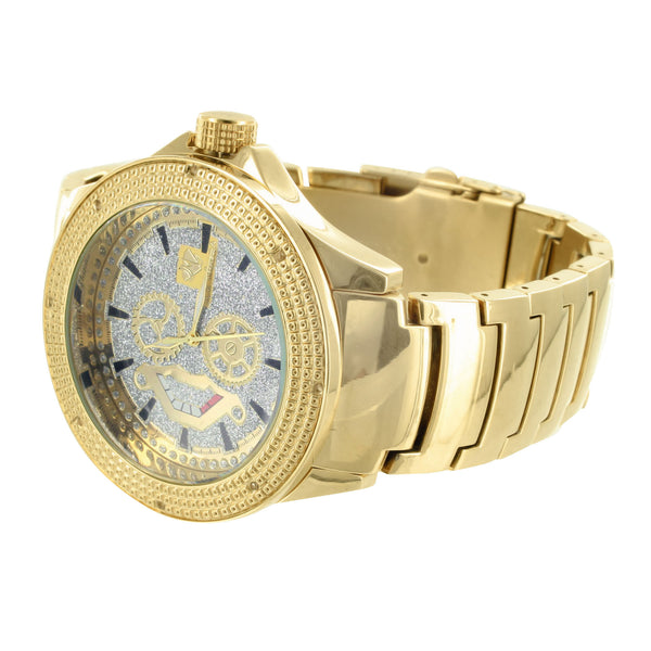 Multi Tone Iced Dial Mens Ice Mania Real Diamond Analog Watch