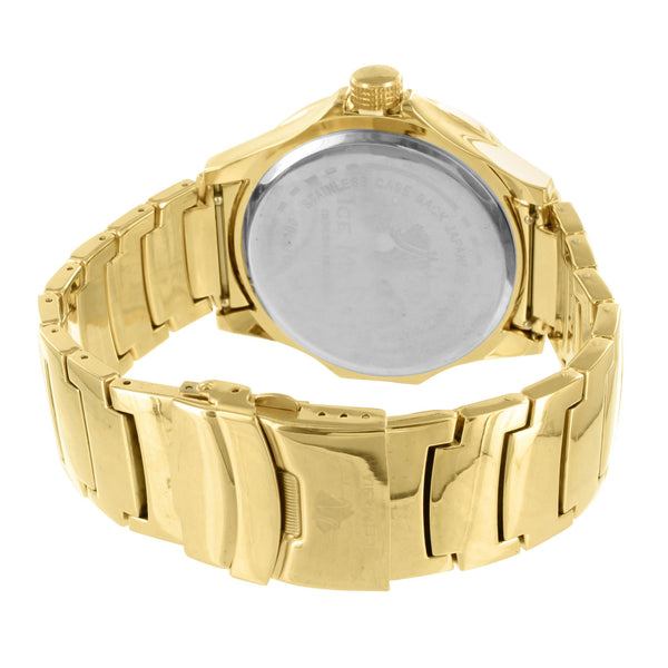 Sleek Yellow Steel Casing Ice Mani Men Joe Rodeo Techno Com Jojino Diamond Watch