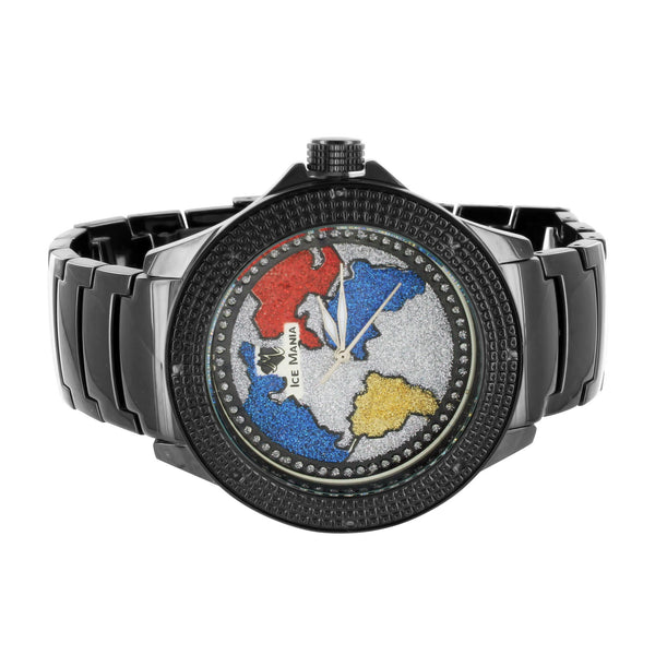 Black Ice Mania World Map Design Dial Rapper Wear Diamond Watch