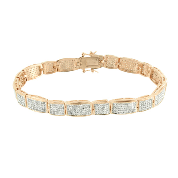 Rose Gold Mens Bracelet Pave Simulated Diamonds Classy Party Wear