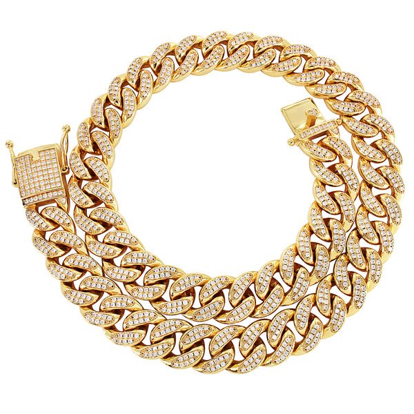 Men's Iced Out Lock 18mm Miami Cuban 18-30