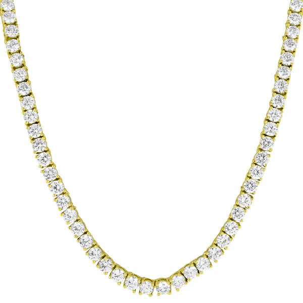 14k Gold Tone Tennis Necklace Solitaire 18