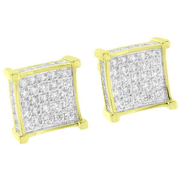 Square Shape Earrings Studs 14k Yellow Gold Finish Lab Diamonds Iced Out Screw Back Hip Hop