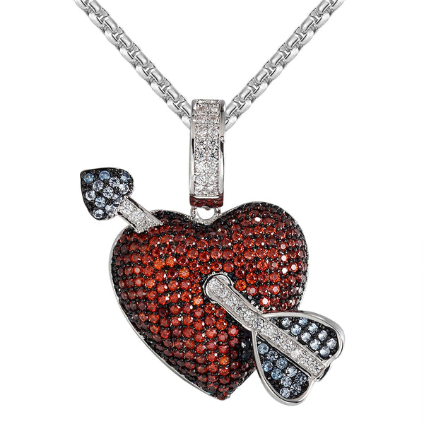Men's Icy Arrow And Heart Necklace