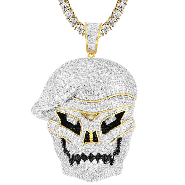 Gold Tone Skull Face Army Zombie Video Game Pendant