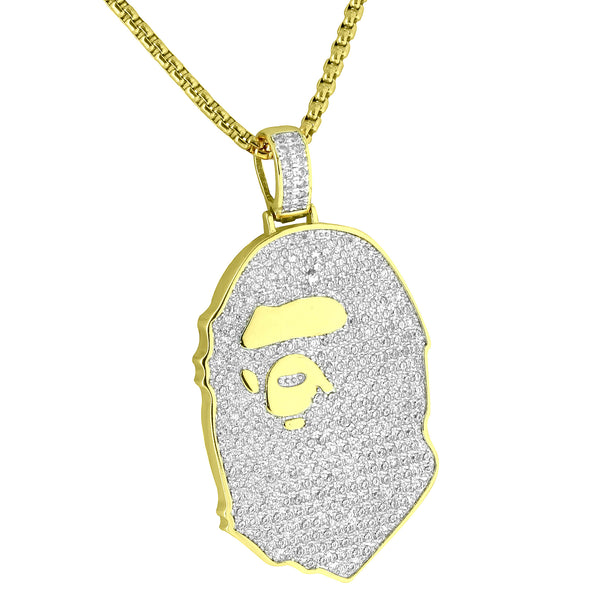 Babe Ape Custom Pendant Iced Out 14k Gold Plated Lab Diamonds 24