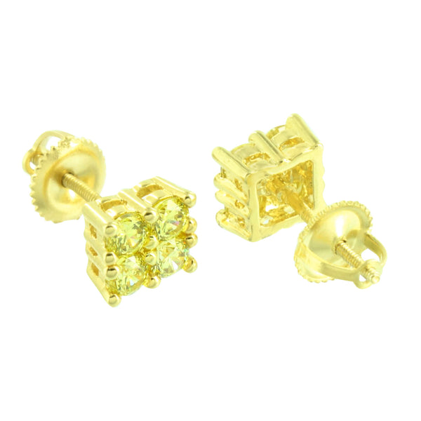 Canary Earrings 14K Yellow Gold Finish Lab Diamonds