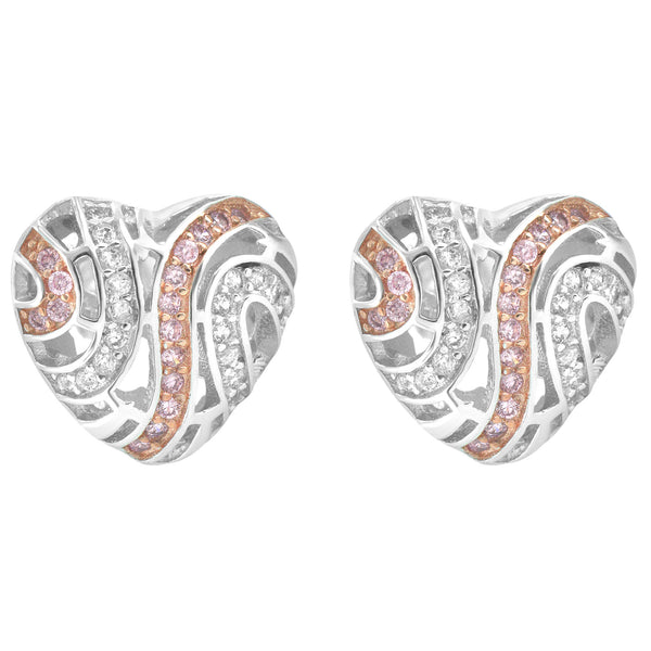 Sterling Silver Designer Iced Out 3D Women's Heart  Push Back Earrings