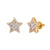 Big Baguette Star 3D 14K Yellow Gold Finish .925 Earrings