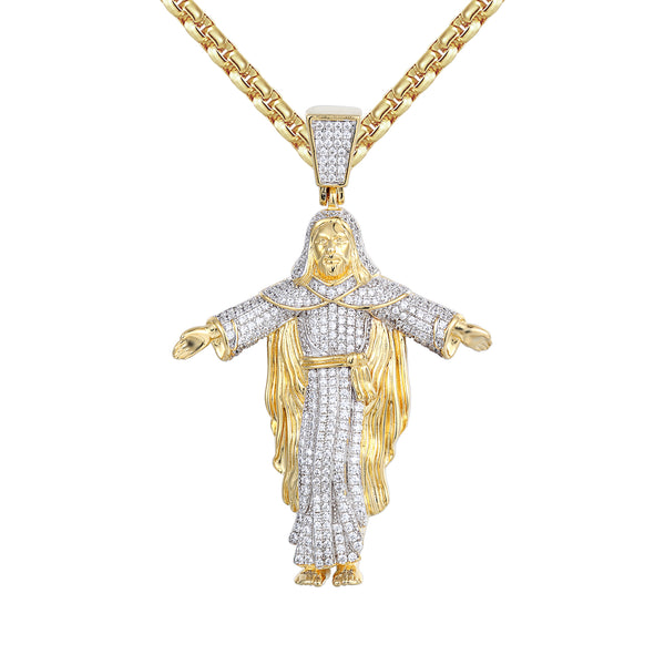 Religious 14k Gold Finish Christ The Redeemer Statue Pendant