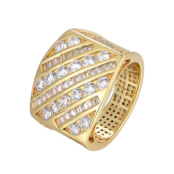 14k Gold Finish Icy Princess Cut Custom Men's Ring