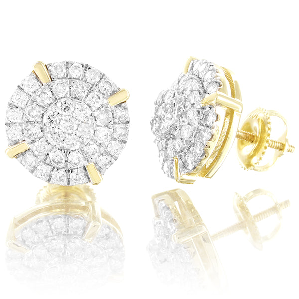 Round Prong Set 10k Gold 1.0CT Real Diamonds Screw Back Earrings