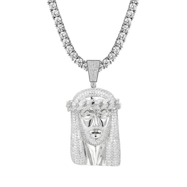 Iced Out Religious Jesus Face Cuban Crown Pendant Franco Chain