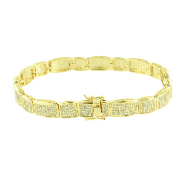 Mens Bracelet 14K Yellow Gold Finish Lab Diamonds Square Links