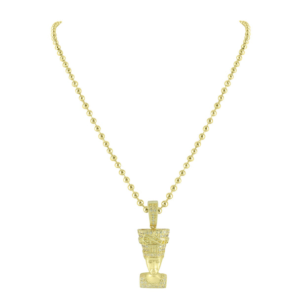 Nefertiti Pendant Moon Necklace Set Simulated Diamonds 14K Yellow Gold Finish