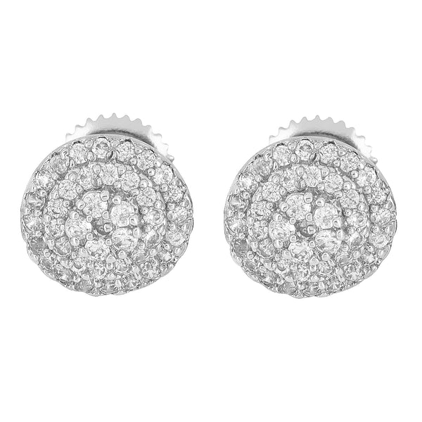 Silver Tone Earrings Round Prong Set Iced Out Simulated Diamonds