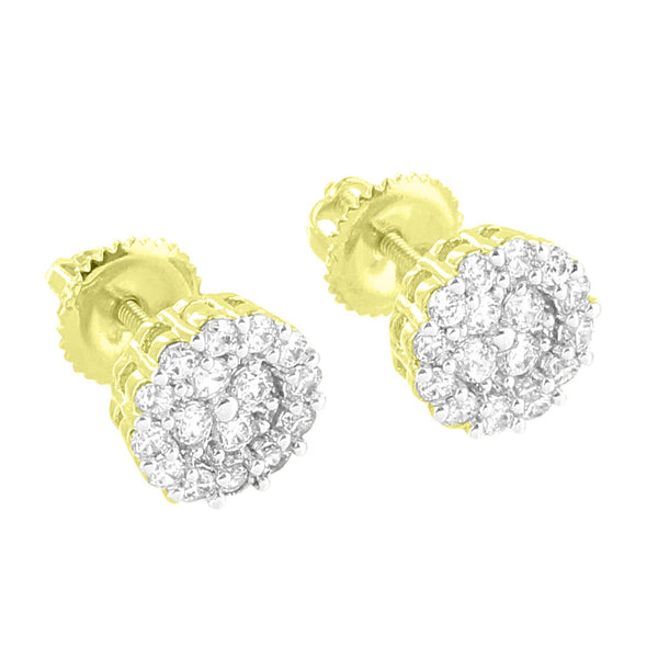 Round Cluster Set Earrings Screw On Bling Simulated Diamonds 14K Gold Finish Studs