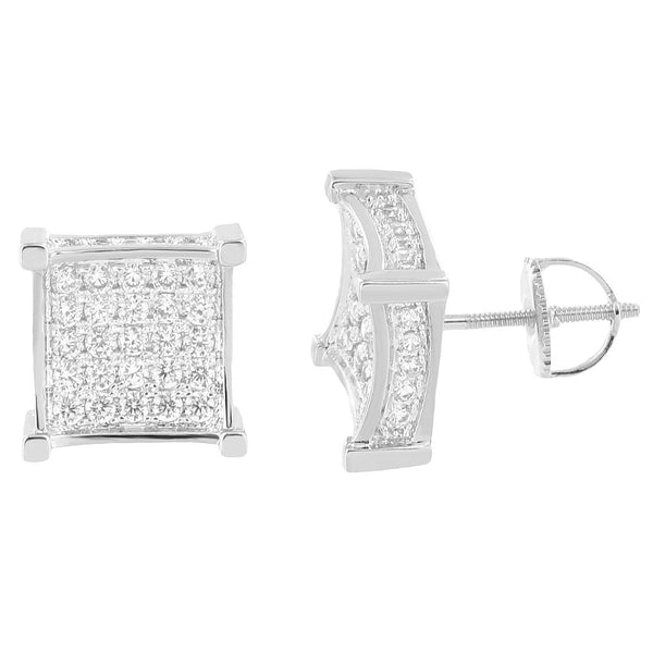 Square Shape Earrings 14k White Gold Plate Screw Back Simulated Diamonds Bling Hip Hop Classy
