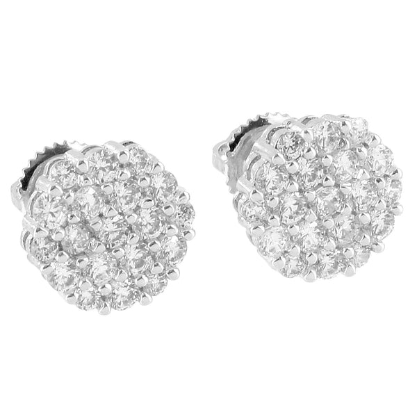 Cluster Prong Set Earrings 14k White Gold Plate Screw Back Iced Out Simulated Diamonds