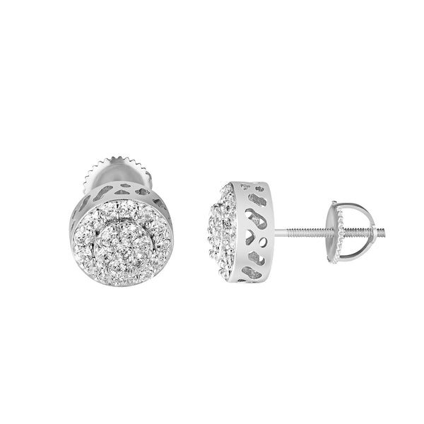 Halo Cluster Set Earrings Simulated Diamonds Studs 10mm Screw Back Round Cut