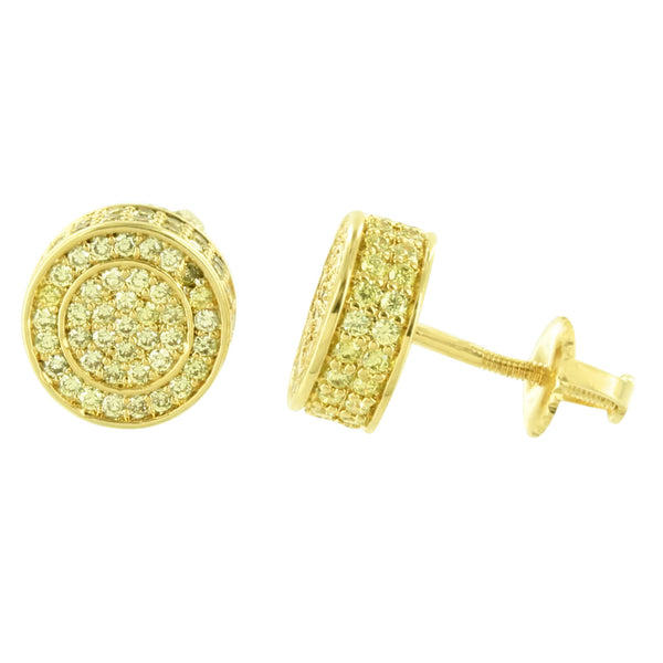 Round Shape Earrings Screw Back Yellow Gold Finish