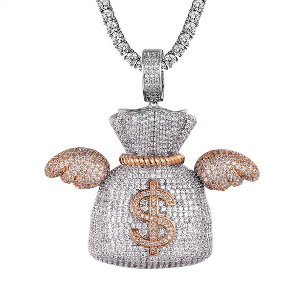 Dollar Money Bag Flying Wings Two Tone Rose Gold Pendant