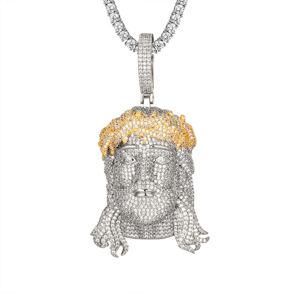 White Gold Finish Yellow Crown 3D Icey Jesus Pendant