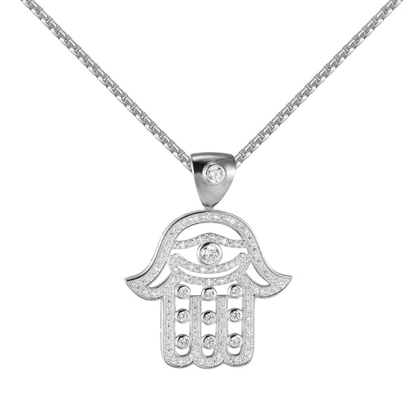 Sterling Silver Hamsa Hand Pendant Solitaire Lab Diamonds 24