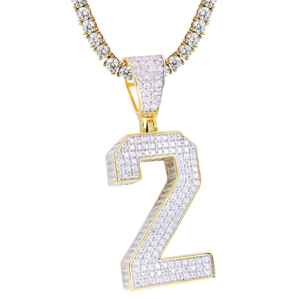 Silver Iced Out Block Numbers 0-9 Numbers 14k Gold Finish Pendant