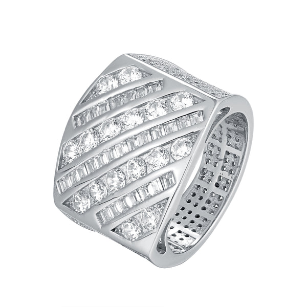 Sterling Silver Men's Custom Side Bling Princess Cut Ring