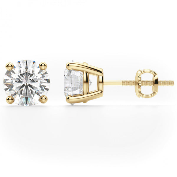 14K Gold 3.5Ct Solitaire Round Cut Moissanite Diamond Earrings