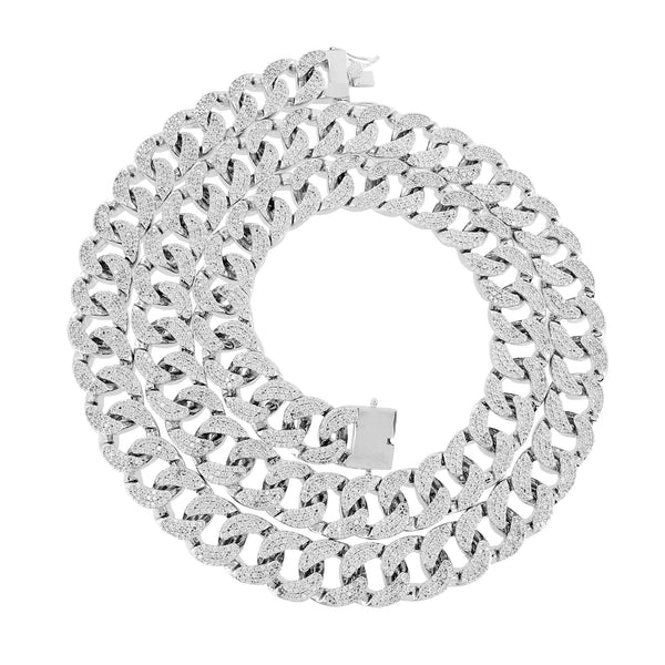 Miami Cuban Bracelet Necklace Set White Gold Tone Simulated Diamond