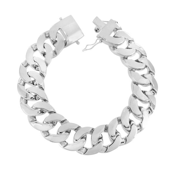 Solid Miami Cuban Bracelet Mens White Gold Finish Thick 18MM