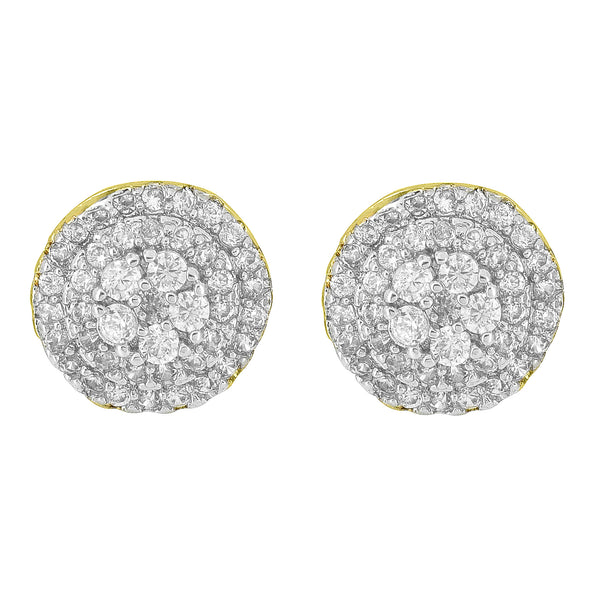 Cluster Set Round Earrings 14K Yellow Gold Finish Screw Back
