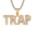 Men's Double Layer Trap Two Tone Mini Gold Finish Bling Pendant