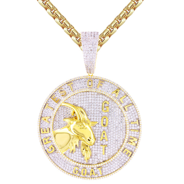 Mens Goat Face Greatest of All Time Icy Circle Medallion Pendant