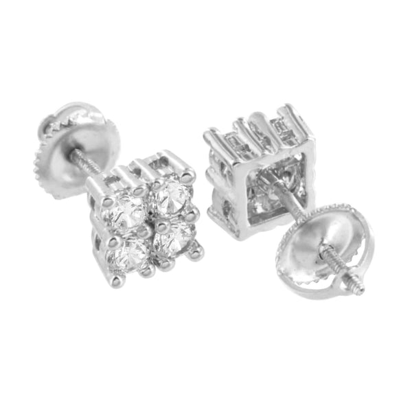 Screw Back Earrings 4 Solitaire Prong Set