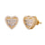 Baguette Icy Sides 3D Heart Shaped .925 Earrings