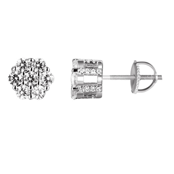 Sterling Silver Cluster Solitaire Screw Back Stud Earrings