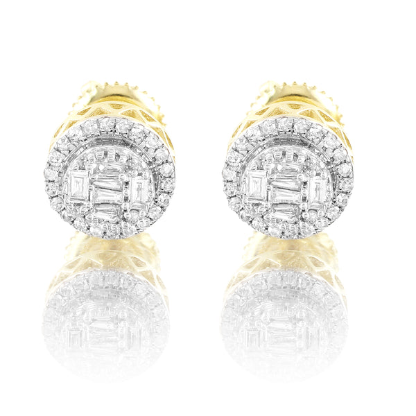 10k Gold Baguette Real Diamonds Round Screw Back Earrings