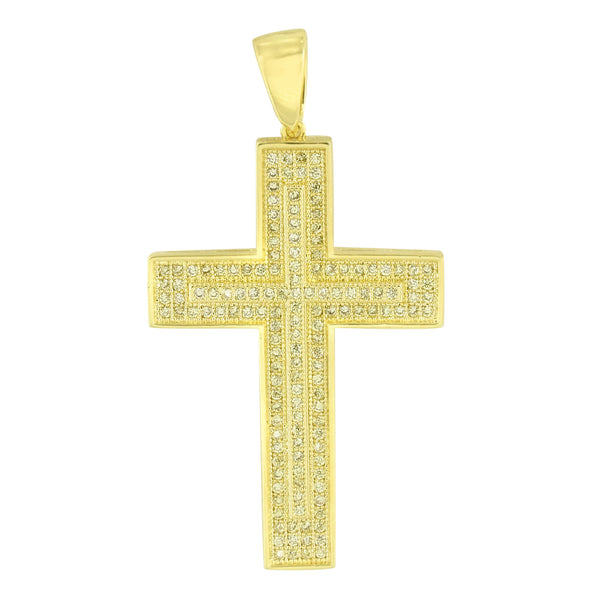 Jesus Cross Design Pendant Yellow Gold Finish Crucifix Charm Simulated Diamonds