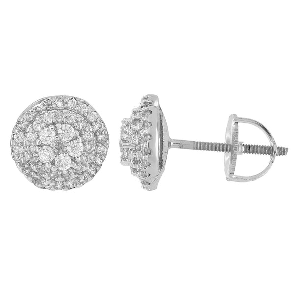 Mens Round Shape Earrings Silver Tone Cluster Set Simulated Diamonds