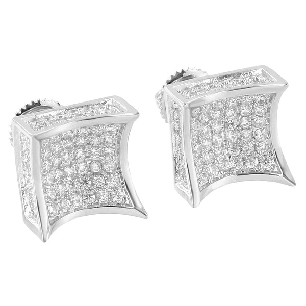 Kite Shape Earrings 14k White Gold Finish Iced Out Simulated Diamonds Screw Back Studs