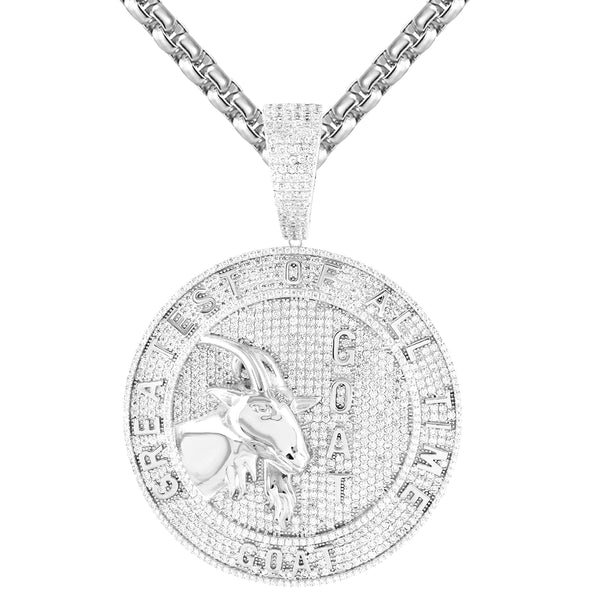 White Goat Face Greatest of All Time Round Medallion Pendant