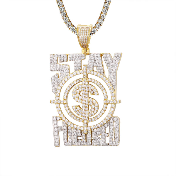 Custom Stay Focused Money Dollar Goal Icy Hip Hop Pendant